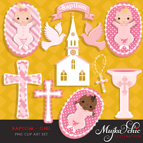 Baptism Baby Girl Clipart with cute babies, church, dove, rosary.