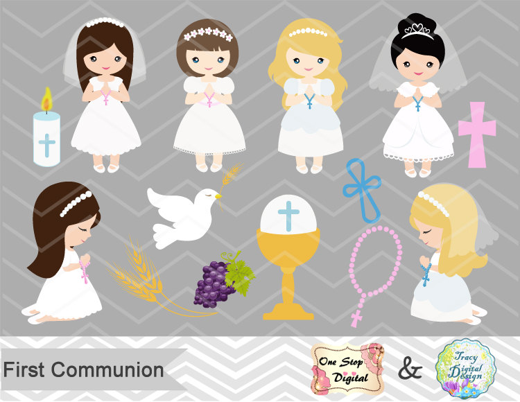 Girls First Communion Digital Clip Art First Communion Clip.