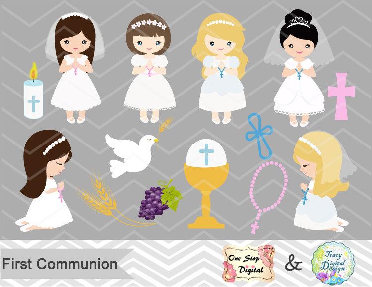 Girls First Communion Digital Clip Art First Communion Clip.