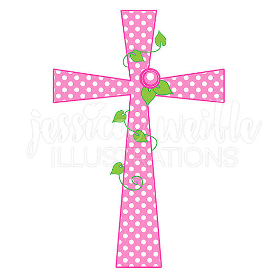 Pink Polka Dot Rose Cross Cute Digital Clipart Girl Cross.