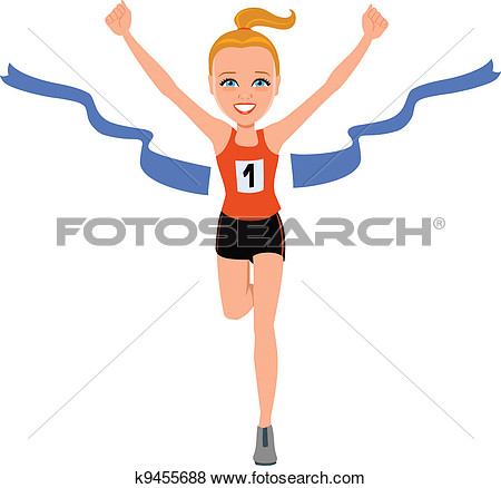 Girl Crossing Finish Line Clipart.