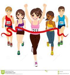 girl running in a race cartoon.