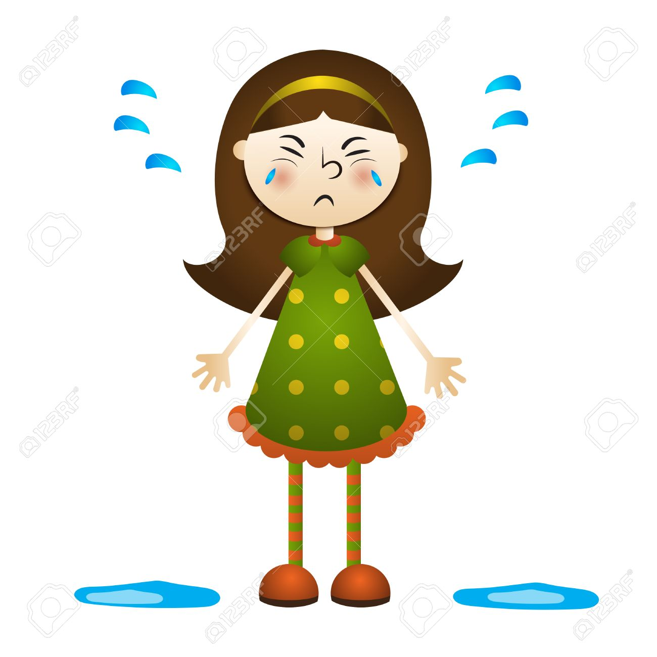 Cartoon illustration of a little girl crying. Vector clipart...