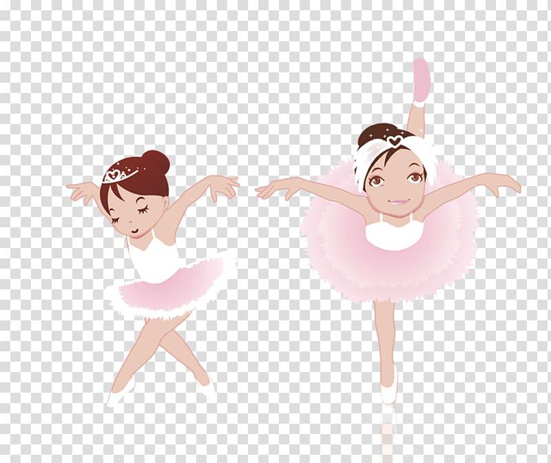 Two girls dancing ballet illustration, Ballet Dancer Ballet.