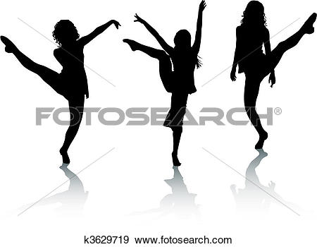 Clip Art of Silhouette girls dance k3629719.