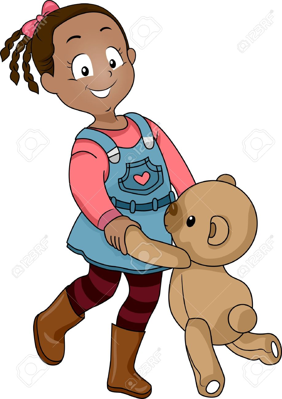 Illustration Of A Girl Dancing With A Teddy Bear Stock Photo.
