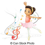 EPS Vector of A little girl dancing with musical notes.