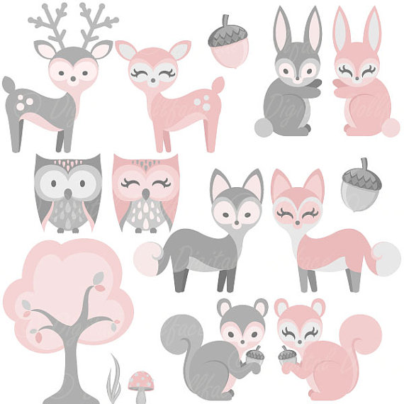 Baby Woodland Animal Clipart, Girl, Baby Clip Art, Pink Bunny.