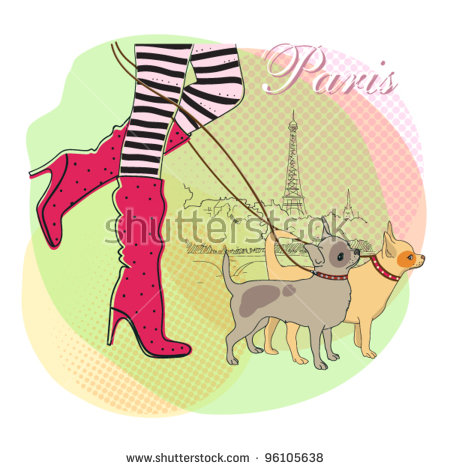 Girl Cute Little Dog Paris Vector Stock Vector 93124315.