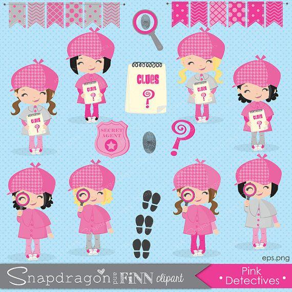 Pink Girl Detective clipart, Girl Spy clipart, Secret Agent.