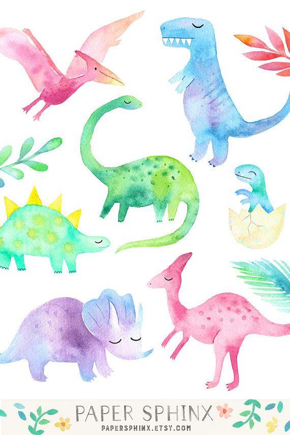 Watercolor Dinosaur Clipart.