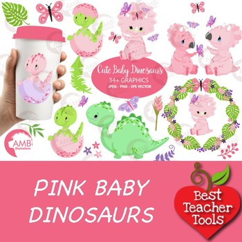 Baby Girl Dinosaur Clipart, Baby Dinosaur Clipart, Dino Clipart, AMB.