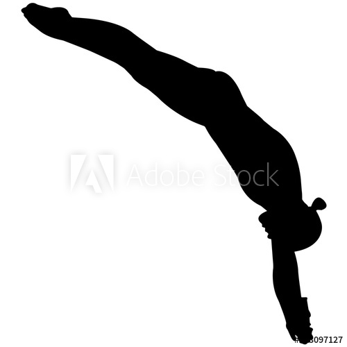 Woman Diving silhouette, Female Diver clipart, Girl sports olympics.