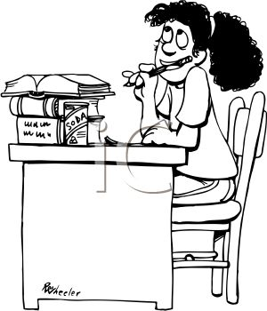 Doing Homework Clipart Black And White.