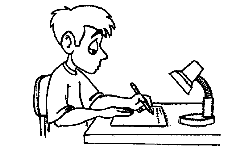 Doing Homework Clipart Black And White.