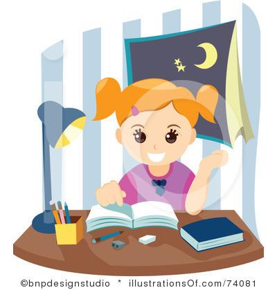 Girl Doing School Work Clipart.