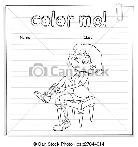 Vector Clip Art of Coloring worksheet with a girl pulling her sock.