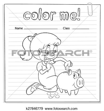 Clip Art of Worksheet showing a thrifty girl k27846779.