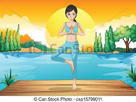 Vector Clip Art of A girl doing yoga outdoor.