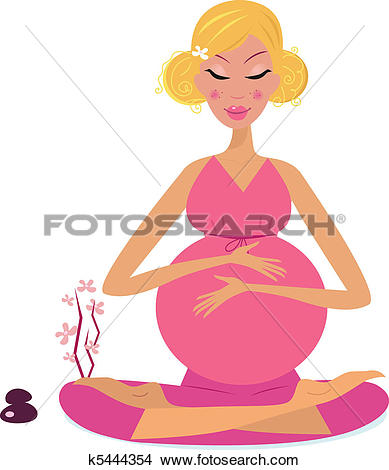 Clipart of Pregnant woman doing yoga k5444354.