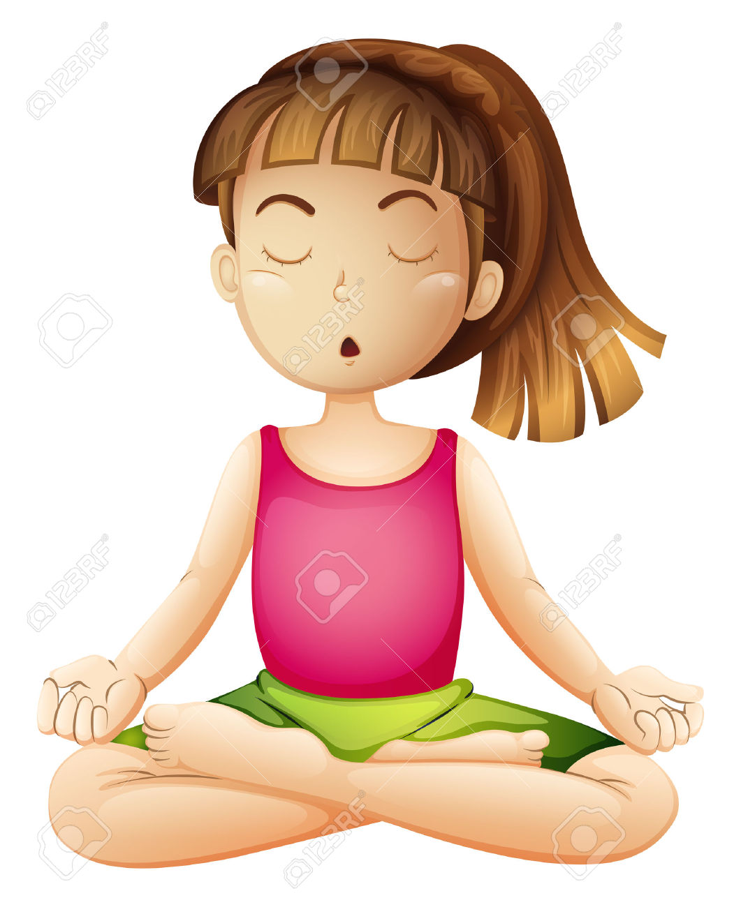 Illustration Of A Young Lady Doing Yoga Alone On A White.