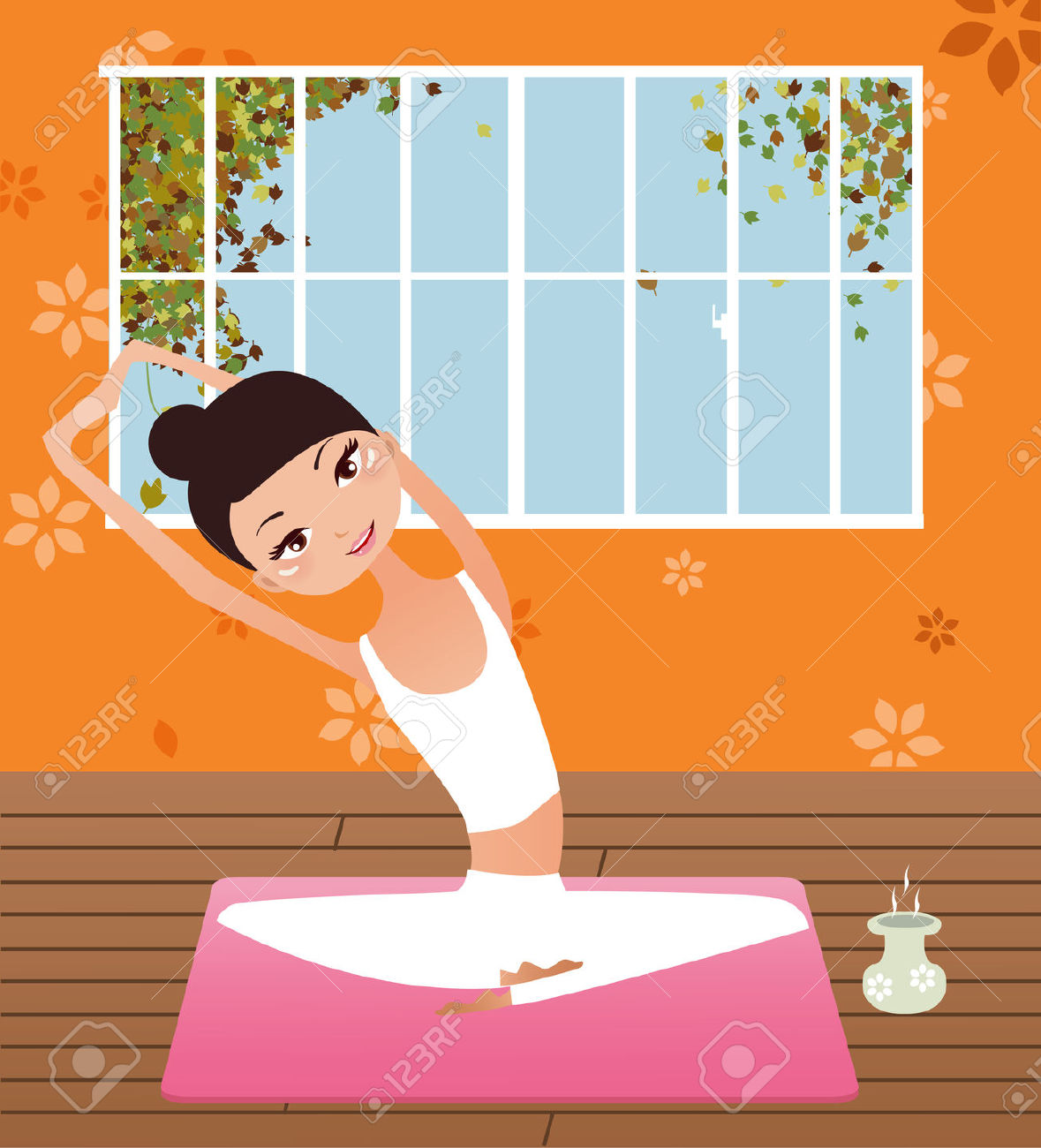 Illustration Of A Beauty Girl Doing Yoga Royalty Free Cliparts.