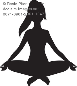 Silhouette of a Woman Doing Yoga Royalty.