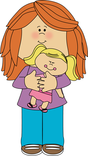 Girl Holding A Doll Clipart.