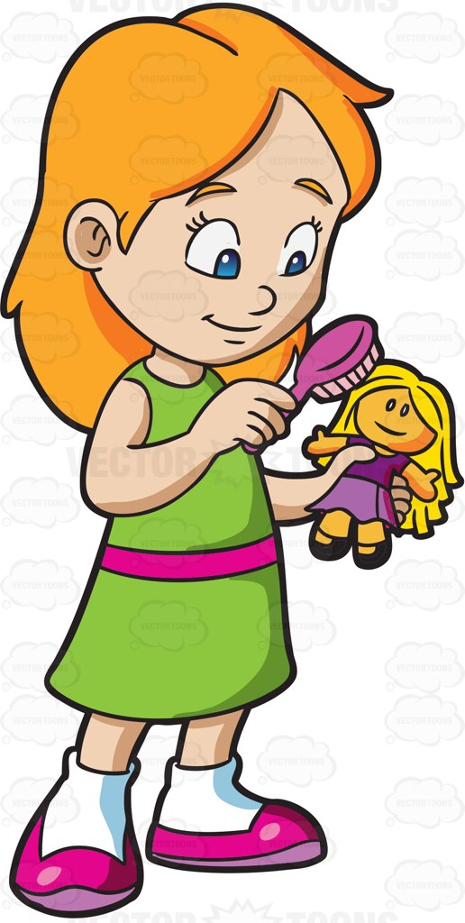 Girl With Doll Clipart.