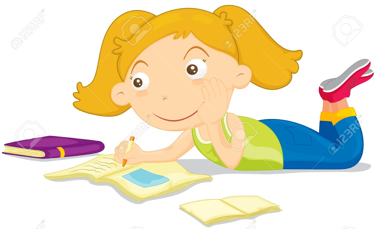 Girl Daydreaming While Doing Homework Royalty Free Cliparts.