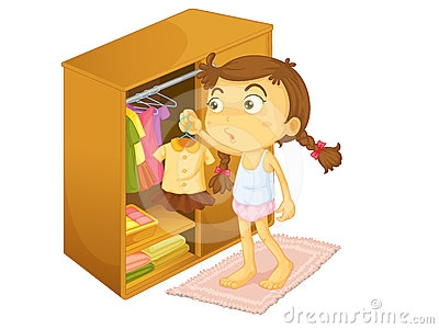Little Girl Getting Dressed Clipart.