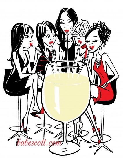 Girl Drinking Wine Clipart.