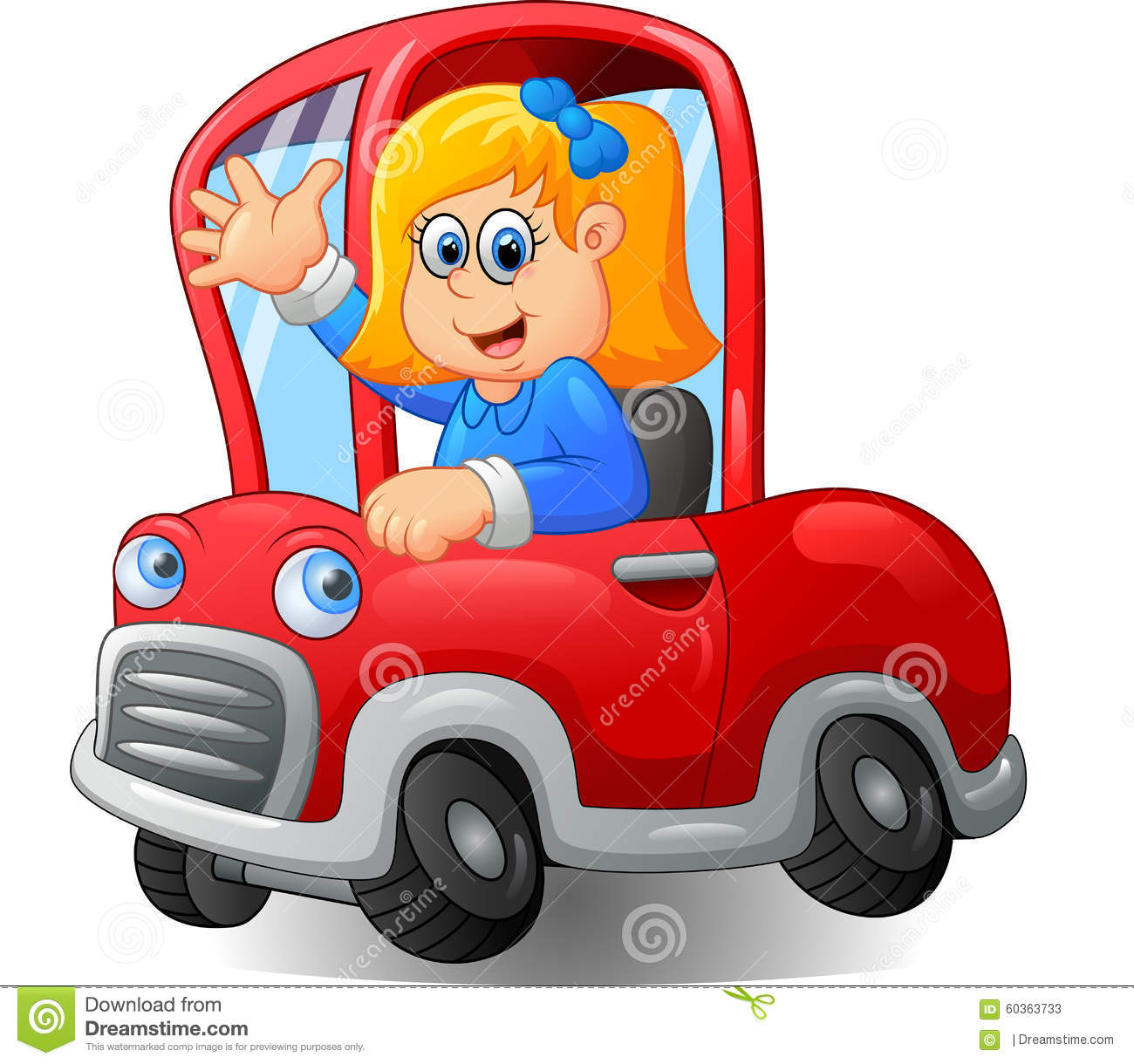 Girl Driving A Car Clipart.