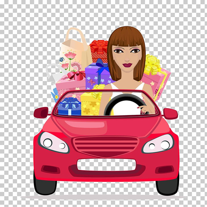 Car Driving , Cartoon driving girl PNG clipart.