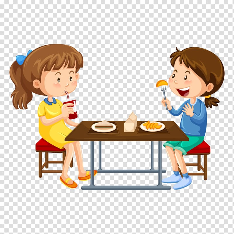 Two girl eating illustration, Cafeteria , eat breakfast.