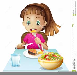 Girl Eating Breakfast Clipart.
