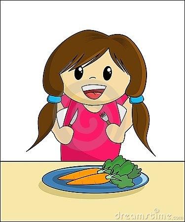 Girl Eating Dinner Clipart.