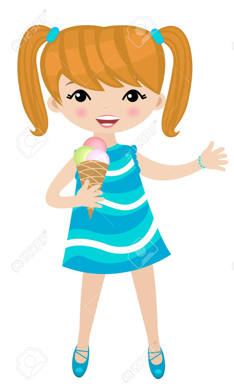 Girl Licking Ice Cream Clipart.