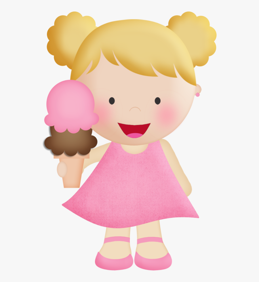 Transparent Girl Eating Ice Cream Clipart.