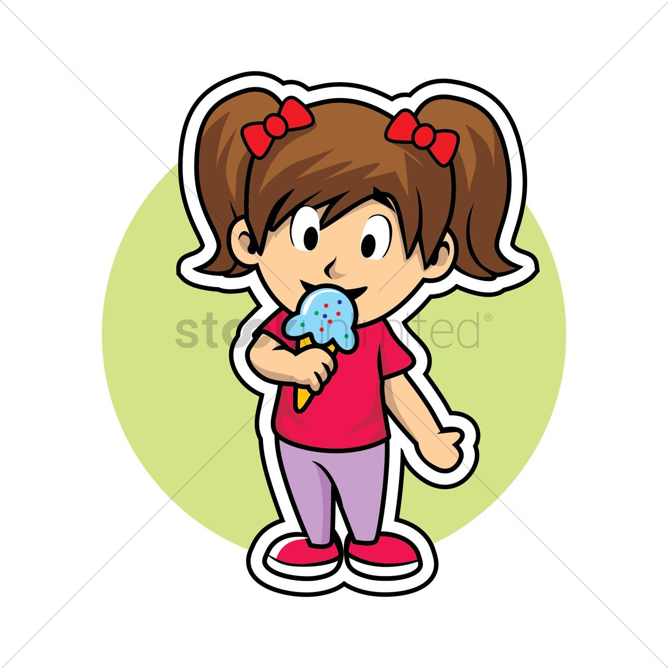 Free Girl eating ice cream Vector Image.