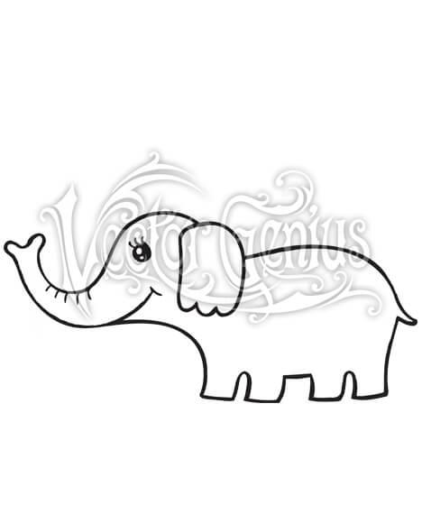 High Resolution Cute Girl Elephant Clip Art Stock Art.