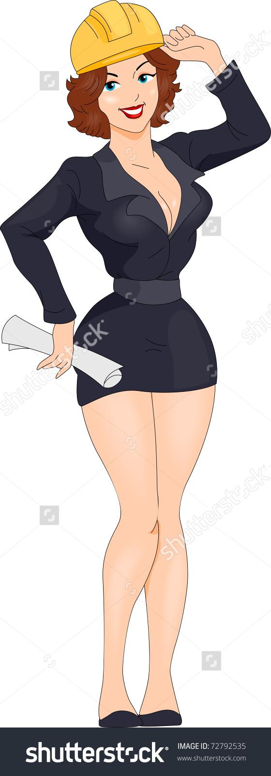 Illustration Pinup Girl Dressed Like Engineer Stock Vector.