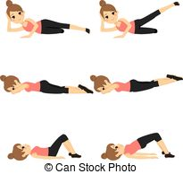 Vector Clip Art of Active woman exercising.