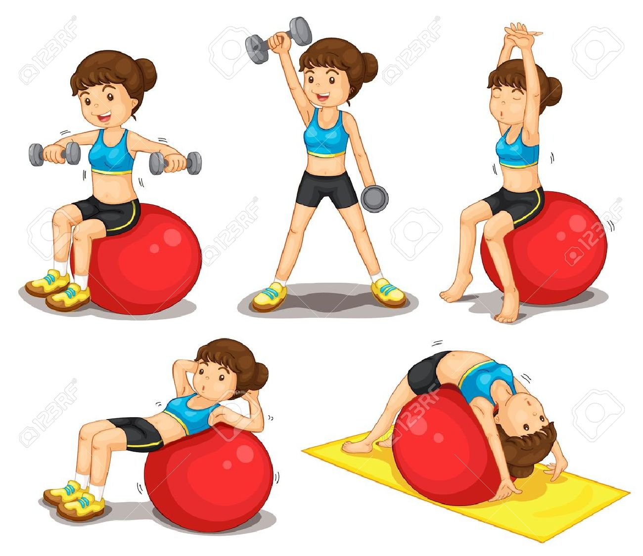 Illustraiton Of Girl Doing Exercises Royalty Free Cliparts.
