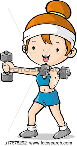 Clip Art of Girl exercising with hand weights u17678292.
