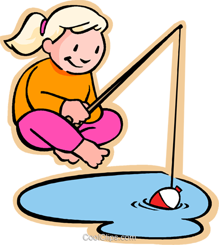 girl fishing Royalty Free Vector Clip Art illustration.