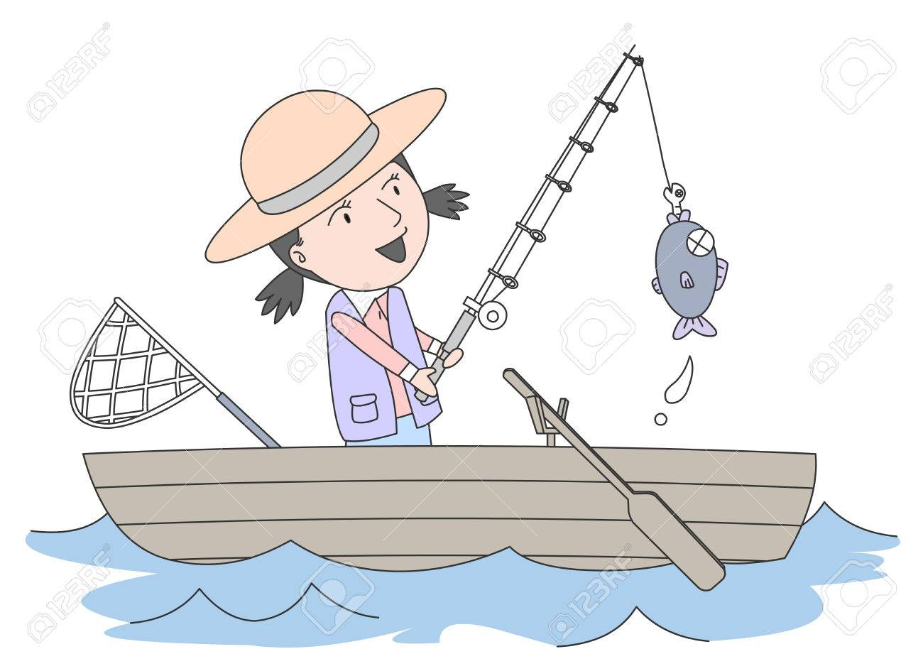 Girl fishing on her boat.
