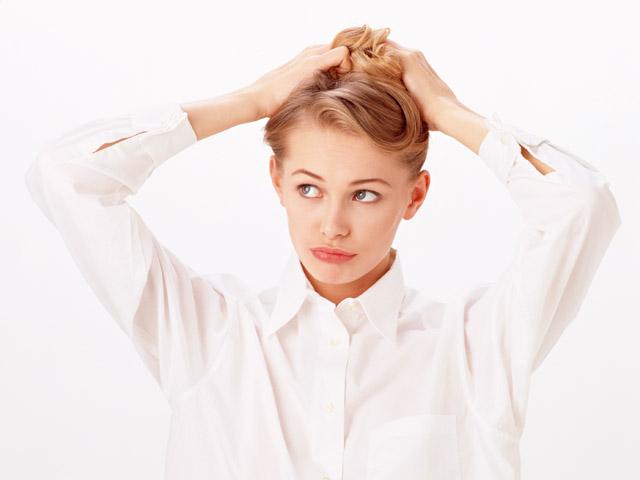 Girl Fixing Her Hair Clipart.