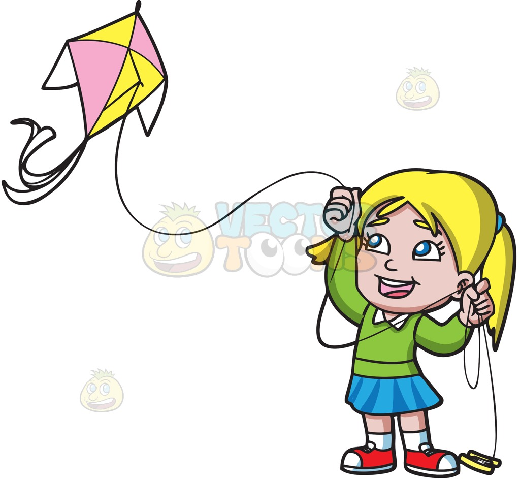 Girl Flying A Kite Clipart.