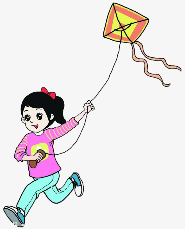 Girl With Kite Clipart.